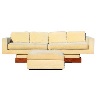 Mid Century Modern Directional Design by Sedgefield Sofa Plinth Base Ottoman 60s For Sale