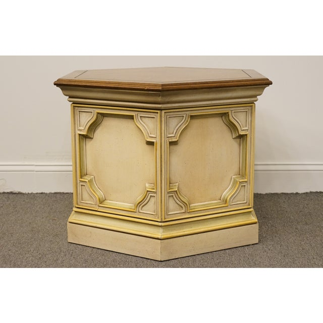 White Late 20th Century Vintage Drexel Heritage Siena Collection White Hexagonal Side Table For Sale - Image 8 of 11