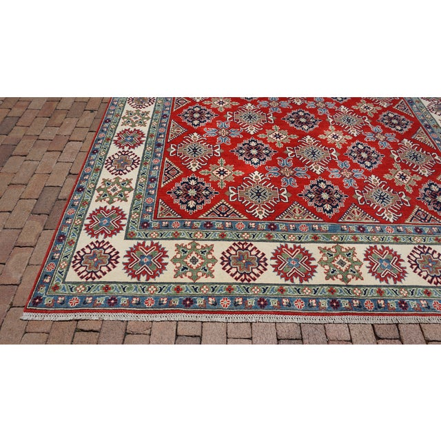 Turkish Hand Knotted Kazak Rug - 9′ × 11′10″ For Sale - Image 4 of 6