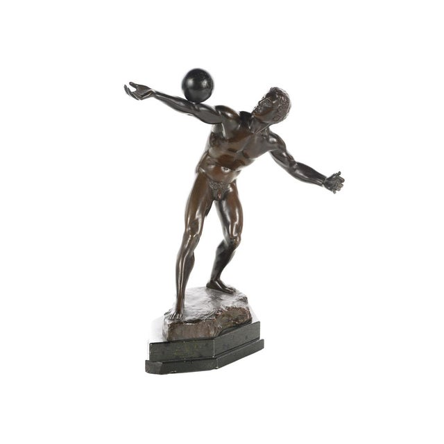 Olympian Athlete balancing a Ball—Antique Bronze Sculpture by E. Hamburger. A beautiful piece that will add to your décor!...