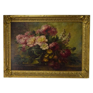 1930s Antique Paul Gericke Urn Full of Wildflowers Still Life Oil Painting