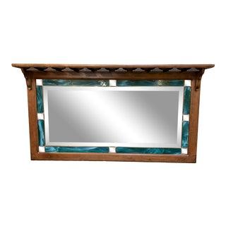 Artisan Stained Glass Wine Glass Rack Mirror + Shelf For Sale