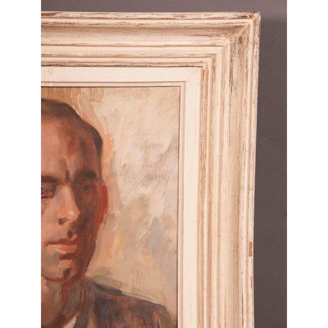 1960s 1960s Portrait of Gentleman's Bust English Oil on Canvas Painting by Victor Hume Moody For Sale - Image 5 of 8