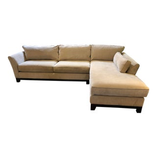 Contemporary Two Piece Beige Sectional Sofa For Sale