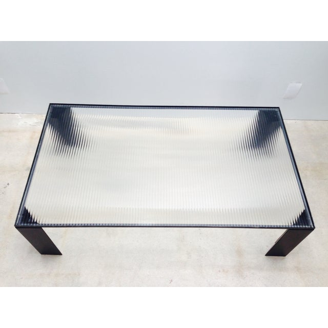 Italian Italian Black Cocktail Table with Rib Glass Top For Sale - Image 3 of 9