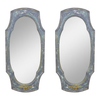Pair of Mid Century Gray Distressed Mirrors