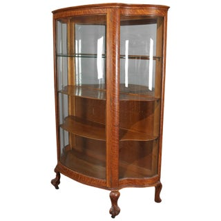 Antique Carved Oak Serpentine Rj Horner Mirrored China Cabinet, Circa 1900 For Sale
