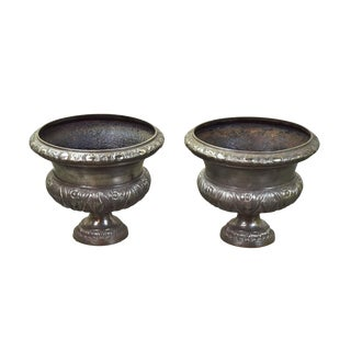 Late-Victorian Polished Cast Iron Planter Urns - a Pair