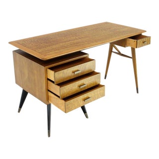Italian Birch Tiger Maple Exposed Sculptural Legs One Pedestal 4 Drawers Desk For Sale