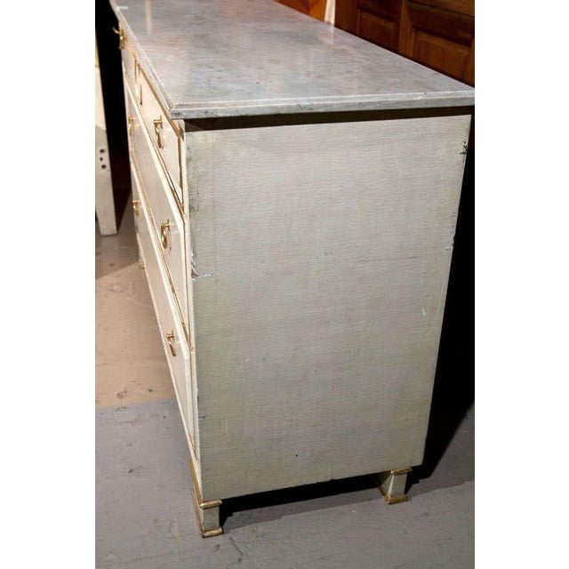 Maison Jansen French Marble-Top White & Gold Chest - Image 5 of 6
