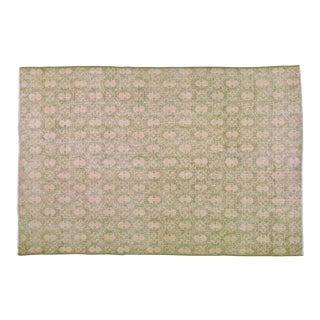 """1950s Turkish Art Deco Light Green and Taupe Wool Rug - 7'2""""x10'9"""" For Sale"""
