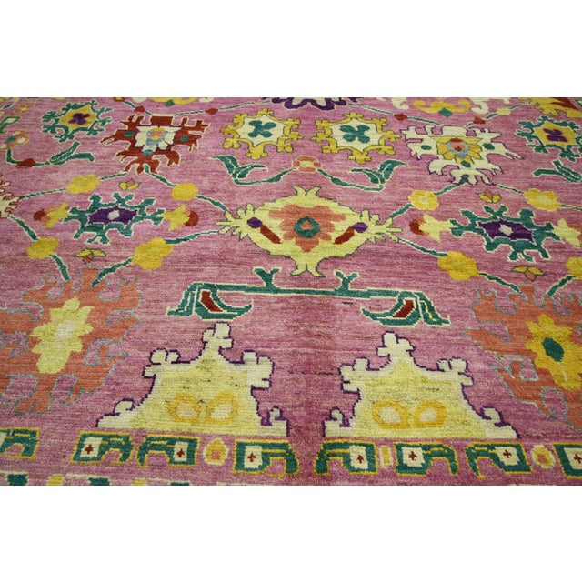 "Textile 20th Century Vintage Turkish Oushak Rug - 12' X 16'10"" For Sale - Image 7 of 9"