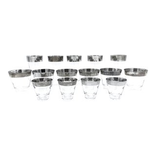 Vintage Mid-Century Dorothy Thorpe Style Silver Rimmed Glasses Barware - 15 Piece Set For Sale