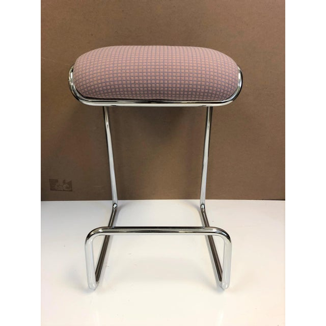 Three bar stools by Design Institute of America. Original upholstered seats with chrome frames.