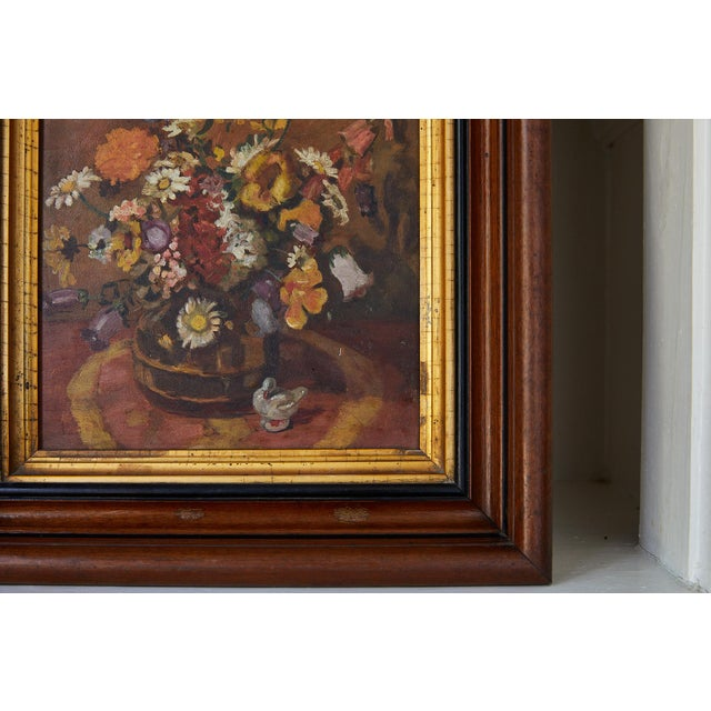 Impressionistic Still Life of Wildflowers and Duck Figurine For Sale - Image 4 of 12