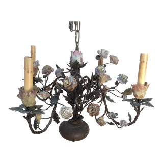 Antique Tole & Porcelain Tulip Flower Chandelier For Sale