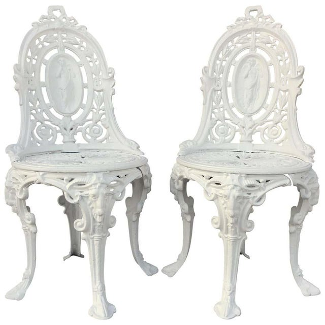 Pair of Victorian Angel Motif Wrought Iron Garden Chairs, Restored For Sale - Image 12 of 12