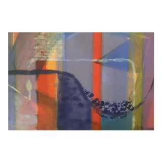 Vintage 1970s Abstract Mid-Century Modern Lithograph Print For Sale