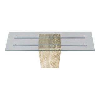 Mid-Century Modern Travertine Chrome Glass Top Console Sofa Table For Sale