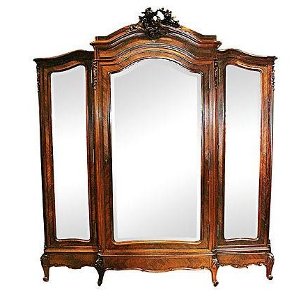 Antique French Rosewood 3-Door Armoire - Image 1 of 7