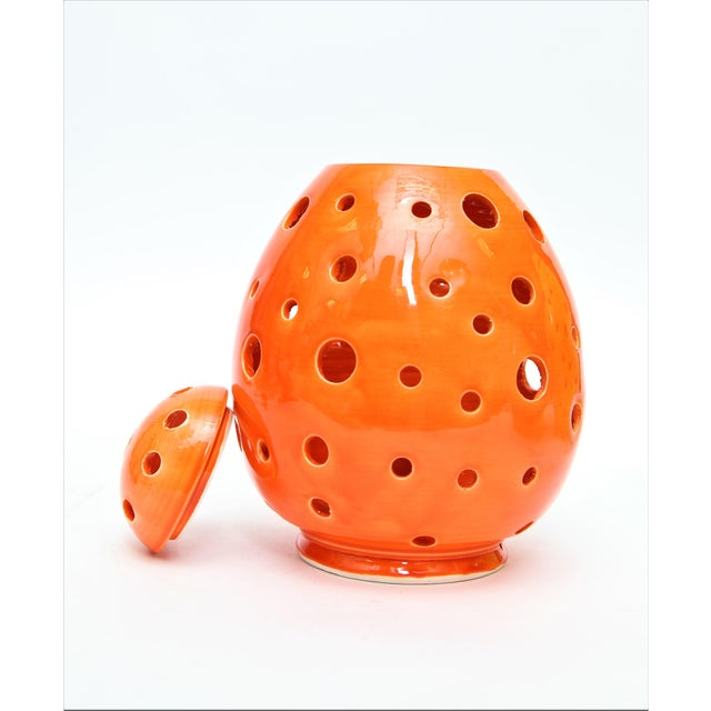 Moroccan Hand Painted Orange Egg Lamp Shell - Image 2 of 3