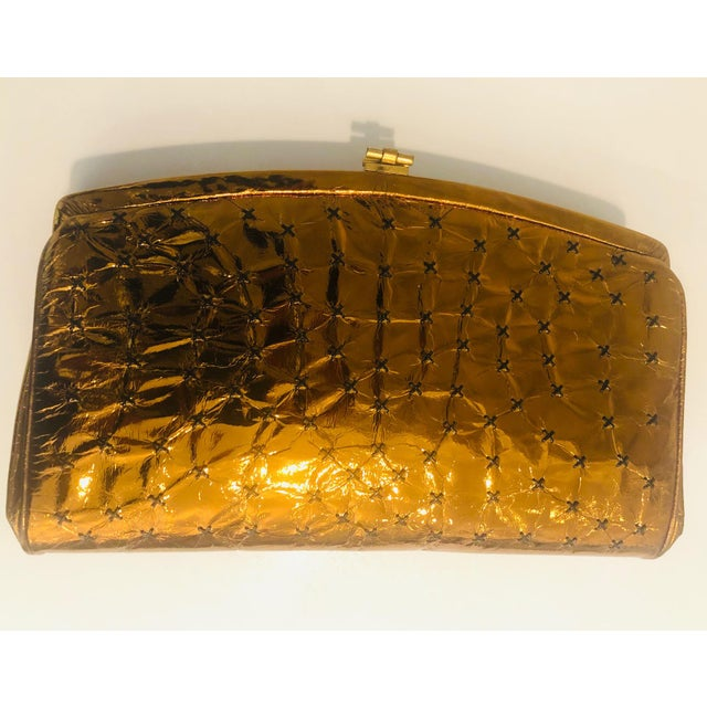 1960s Max Holzman Metallic Copper Leather Clutch For Sale In New York - Image 6 of 11
