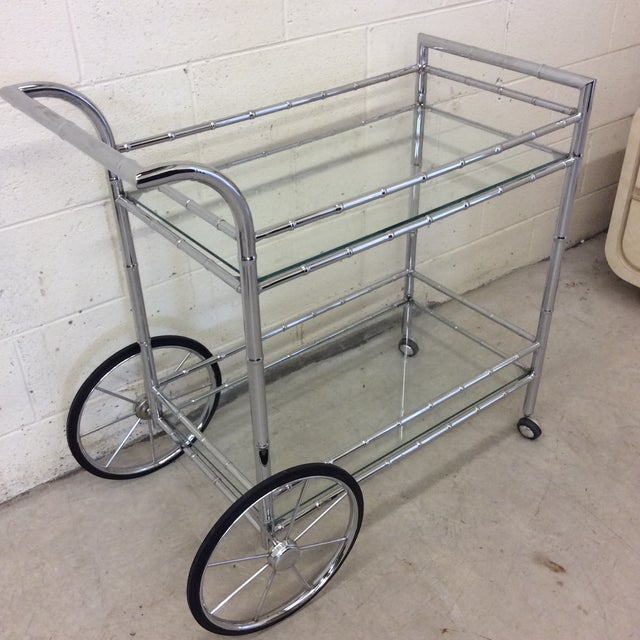 Italian Style Faux Bamboo Chrome Bar Cart For Sale - Image 10 of 10