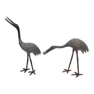Early 20th Century Cast-Iron Cranes Made for Winterthur - a Pair For Sale