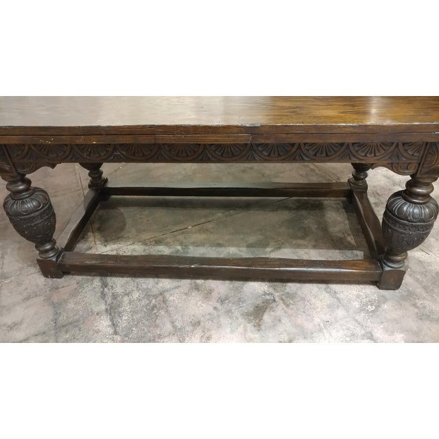 18th Century English Oak Jacobean Style Draw Leaf Refectory Table Size For Sale - Image 9 of 10