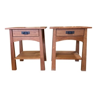 Wood Castle Reflections Cherry Nightstands - a Pair For Sale