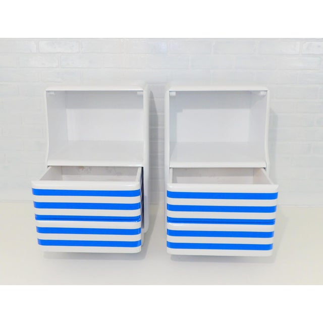 Mid-Century Modern White & Blue Striped Nightstands - A Pair For Sale - Image 4 of 10
