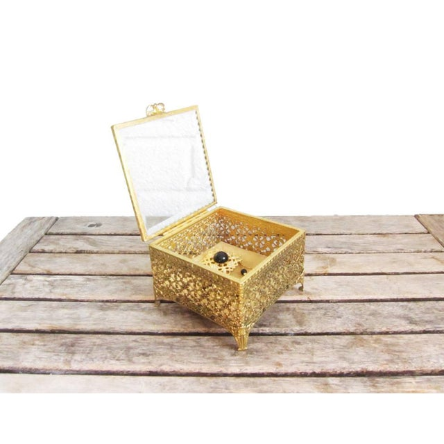 Vintage Gold Ormolu Jewelry Casket Ring Box For Sale - Image 4 of 9