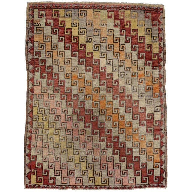 """Tribal 20th Century Turkish Oushak Rug - 4'9"""" X 6'3"""" For Sale - Image 3 of 3"""
