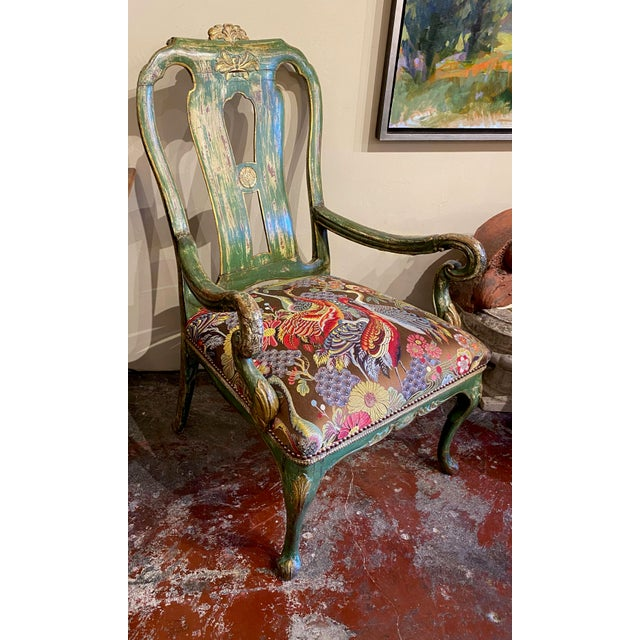 19th Century Italian Paint and Gilt Arm Chair For Sale - Image 5 of 10