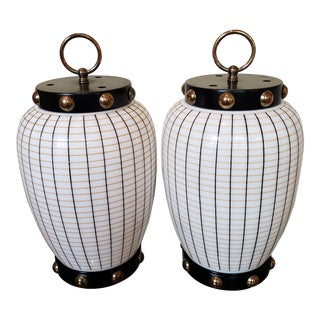 1950s Art Deco Glass Lamps With Brass Studs, Parzinger Style - a Pair For Sale