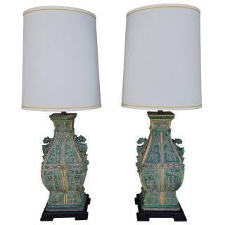 Pair of Spectacular Ceramic Vintage Chinoiserie Designer Lamps For Sale