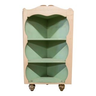 Rustic White & Green Corner Cabinet