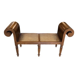 Vintage Solid Wood Cane Seat Bench For Sale