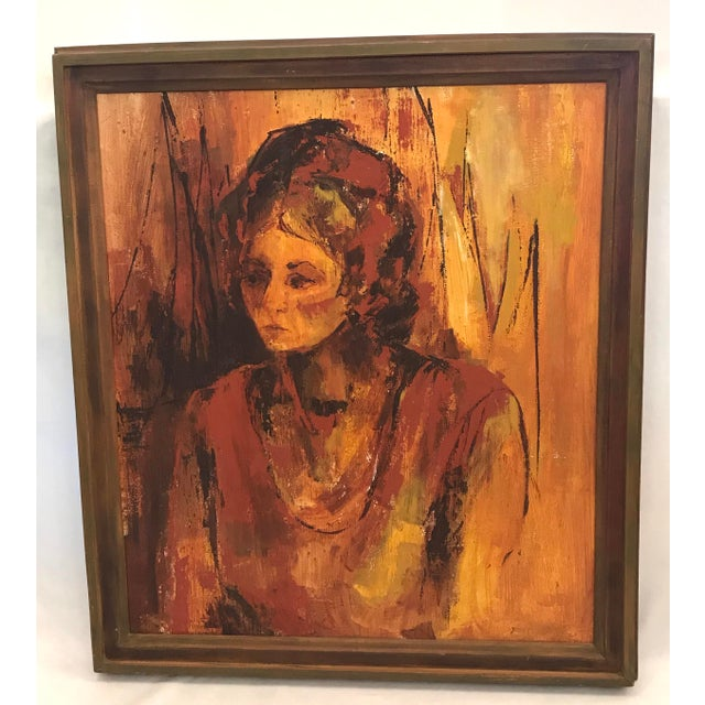 Mid-Century Original Portrait of a Woman Painting For Sale - Image 13 of 13
