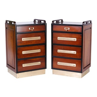 Mahogany Nightstands in the Nautical Tradition - A Pair For Sale