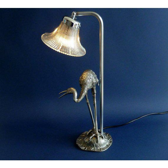 Hollywood Regency Maison Bagues Silvered Bronze/ Crystal Shade Heron Lamp For Sale In Miami - Image 6 of 8