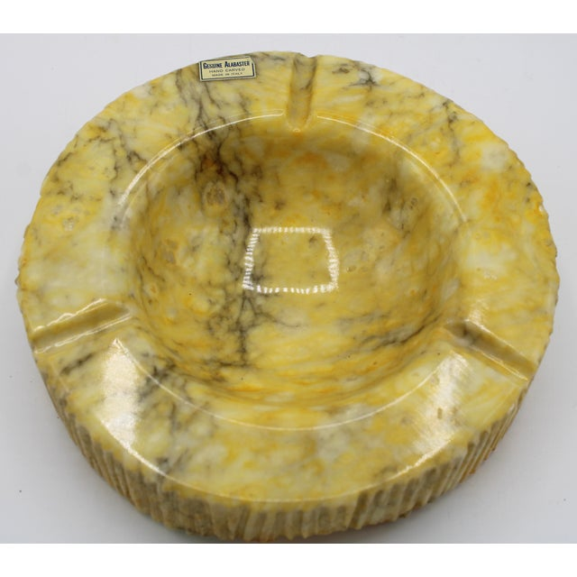Stone Large Vintage Italian Yellow Marble Ashtray Slab For Sale - Image 7 of 11