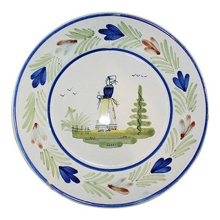 French Quimper Ironstone Plate For Sale