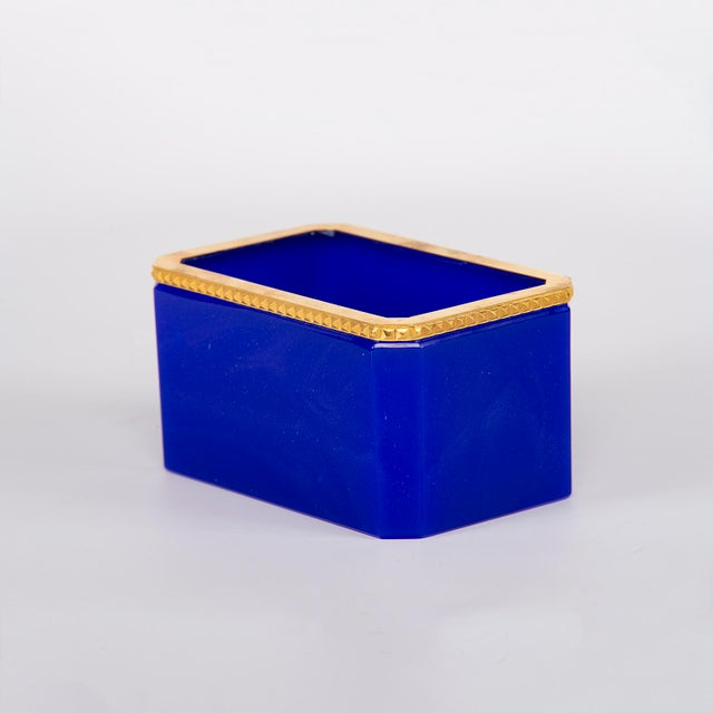 French Royal Blue Opaline Glass Dish With Brass Mounts For Sale - Image 4 of 8