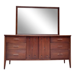1960's Broyhill Saga Series Walnut Dresser W/ Mirror For Sale