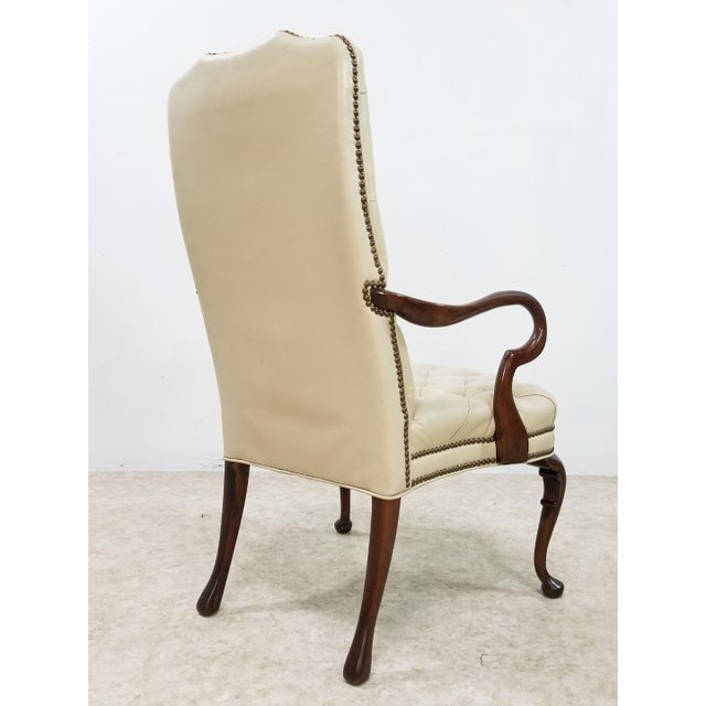 Mid-Century Modern Mid Century Executive Leather and Wood Tufted Chesterfield Armchair For Sale - Image 3 of 13