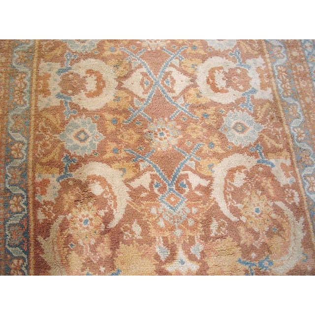 """Traditional 1910s Traditional Blue and Peach Cotton Rug - 4'2""""x6'8"""" For Sale - Image 3 of 8"""