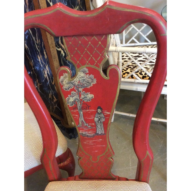 Asian Red Chinoiserie Dining Chair - Set of 4 For Sale - Image 3 of 13
