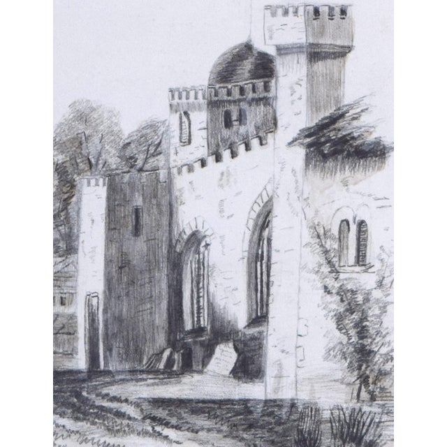 19th Century 19th Century Antique English Graphite Castle Drawing For Sale - Image 5 of 7