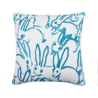 Bunny Fabric - Hutch Print Aqua - Hunt Slonem - Lee Jofa - Lumbar 20x20 Inch Preview
